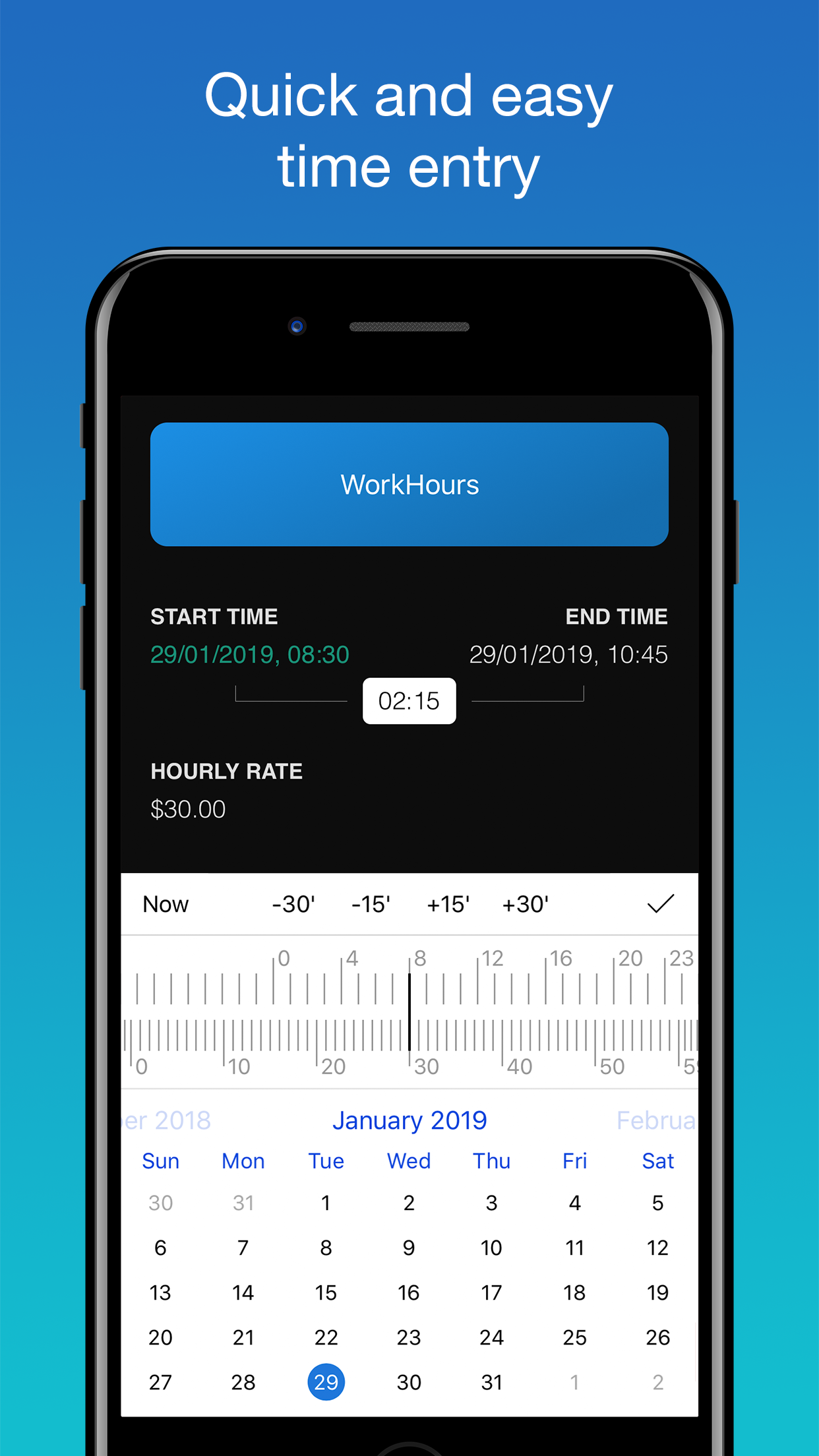 WorkHours app screenshot - Time Entry