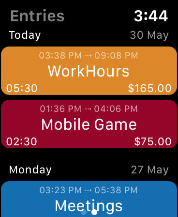WorkHours Watch app - Entries