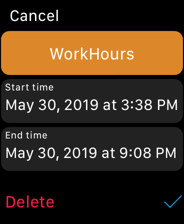 WorkHours Watch app - Entry
